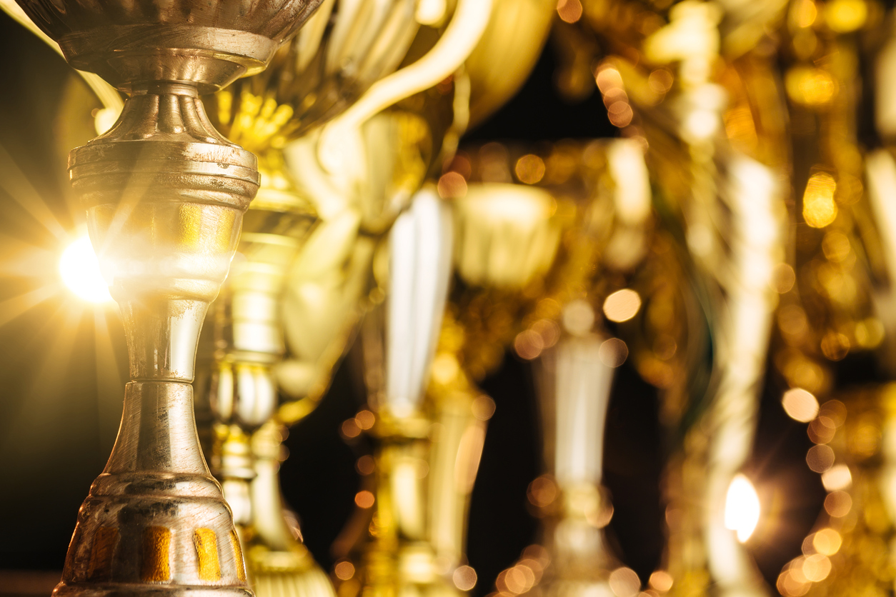 picture of golden trophies to be awarded at the Henry Awards in Lone Tree