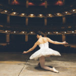 Ballerina with white tutù in a theater