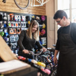 Young woman in a locally-owned sporting goods store