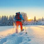 Man snowshoeing in powder snow