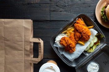 an order of chicken and fries from take-out in Lone Tree