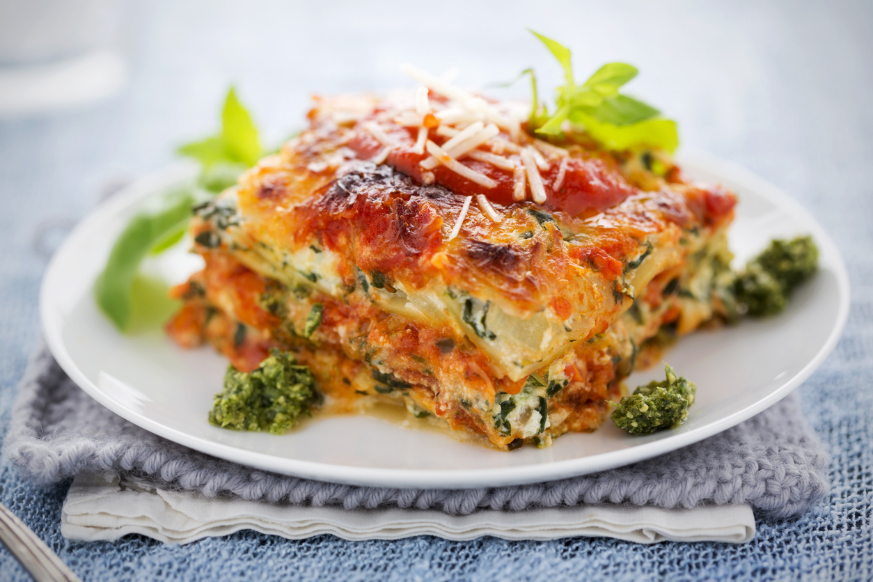 Lasagna with spinach, ricotta, red sauce, and parmesan cheese | lasagna around Lone Tree