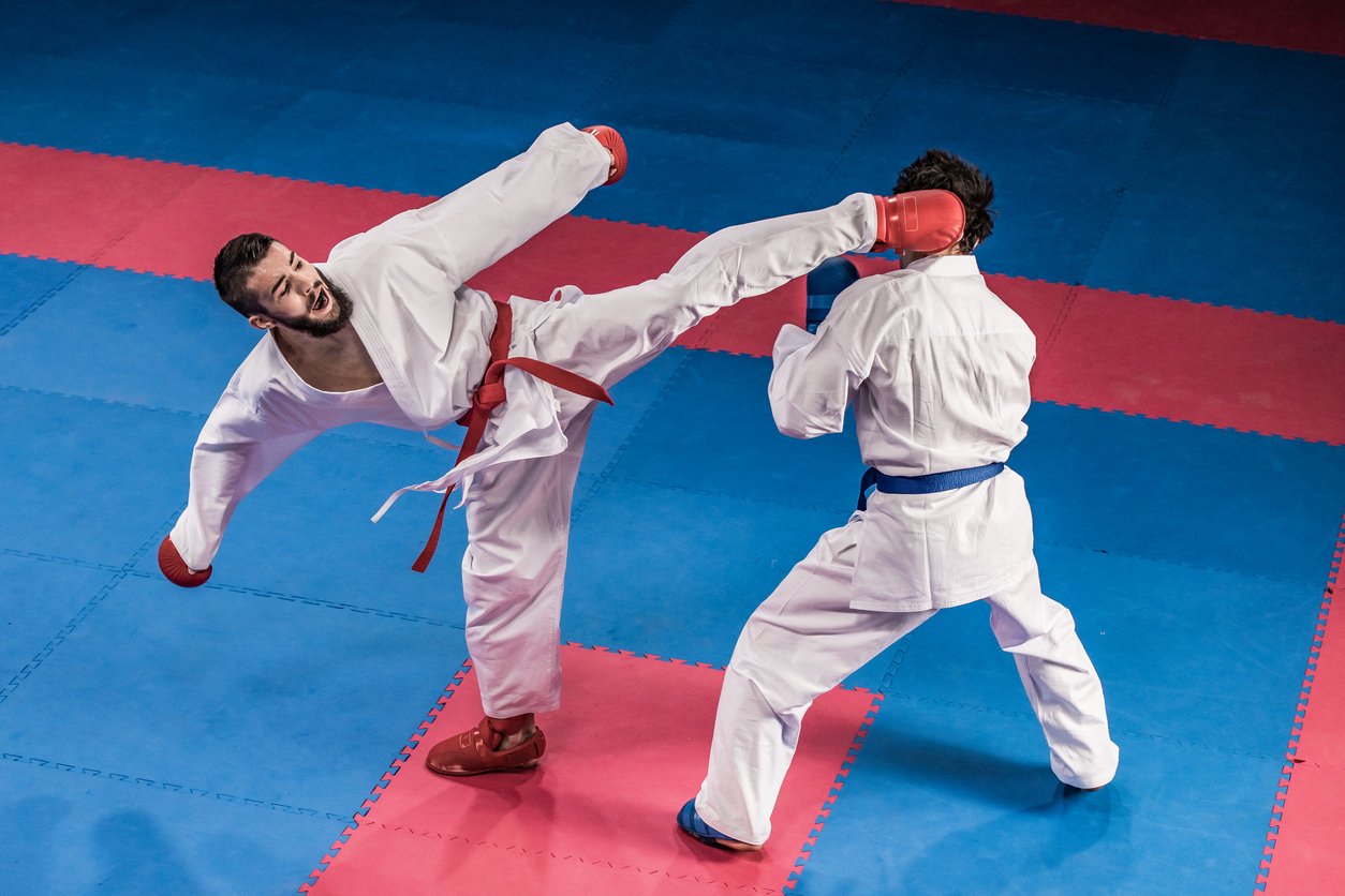 two adults competing and practicing martial arts | martial arts schools around Lone Tree